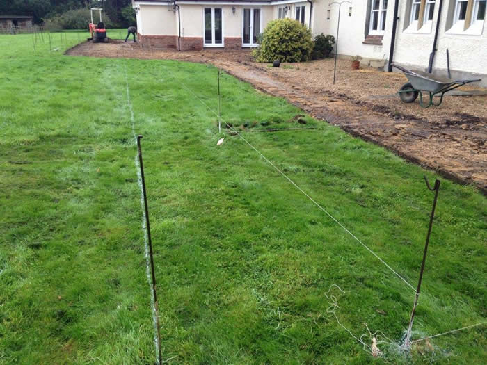 First of all we start by lining out the area for the new patio.